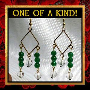 Green Chalcedony & Quartz Earrings #231